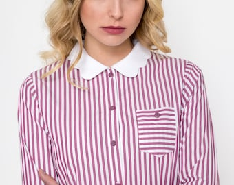 Scallop Shirt/ Vintage Shirt/ Retro Shirt / Striped Shirt