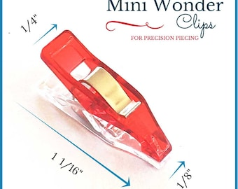 "Mini Quilter's Wonder Clips with 1/8"" nose for precision piecing - 25 Mini Clips"
