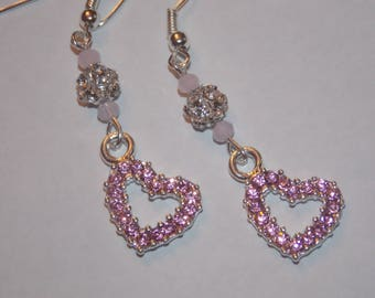 Pink Rhinestone Heart Clear Rhinestone encrusted Silver Plated Bead Earrings