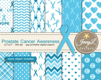 Prostate Cancer, Awareness Digital Papers and Blue Ribbon Clipart, Colon Cancer  for Digital Scrapbooking, Planner, Invitations