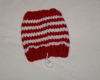 Knit red and white stripe cup or glass cozy