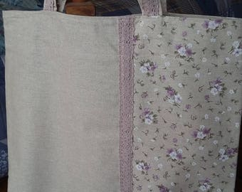 Bag + pouch with lilac flowers