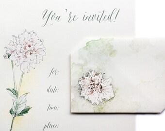 Digital Download Invitation, Dahlia Flower, All-In-One Envelope+Letter, Instant Digital Download, Hand made Invitation