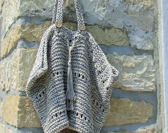 Hand knitted cotton market bag - Cotton knit tote bag in grey and cream