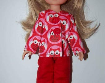 "Doll Clothes for 13"" Les Cheries-14"" H4H Betsy McCall Dolls - Red Owl Pajamas top and pants tkct302 READY To Ship"