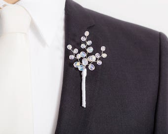 Limited Edition Frosted Iridescent White Boutonniere - White Boutonniere - Mens Boutonniere