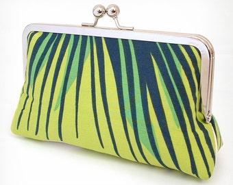 Chartreuse stripe silk-lined clutch bag
