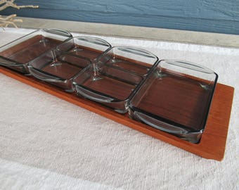 Vintage Mid Century Modern Danish Teak Tray with Glass Serving Dishes, Condiment Tray, Denmark