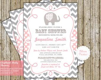 Elephant Baby Shower Invitation Chevron Gray Pink Polka Dot Modern Invite Digital Printable DIY