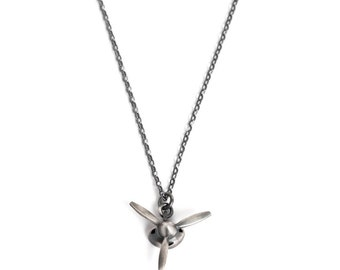 Mens Propeller Necklace with Spinning Propeller – 3 Blade Propeller Pendant Necklace in Solid Sterling Silver