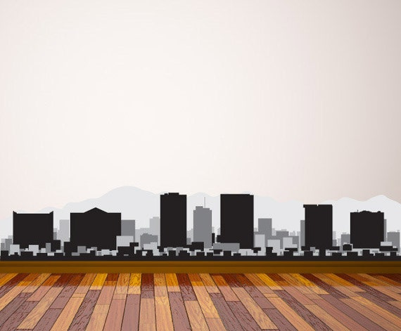 El paso texas skyline decal vinyl decal car sticker laptop sticker wall decals wall decor reusable decal
