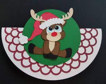 Cute reindeer rocking Christmas card with envelope. Set of two cards and two envelopes.