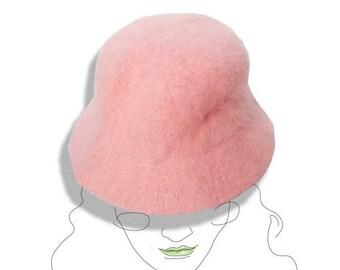 Angora pink hat