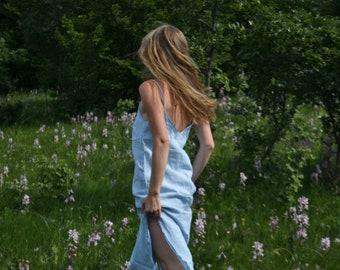 Linen basic dress, handmade summer dress, sleevless dress, bohemian, minimal dress