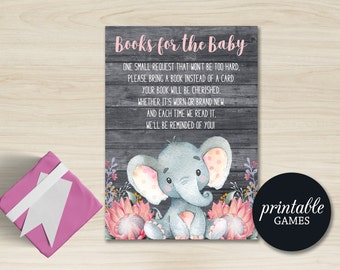 Bring a book instead of card Insert, Elephant Baby Book Request Card PRINTABLE, Baby Shower Book request card, Elephant Books for Baby Card