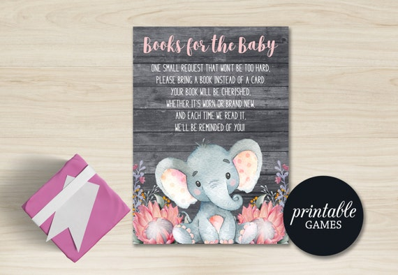 Baby Shower Card Printable ~ Bring a book instead of card insert elephant baby book