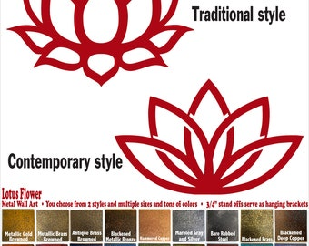 """Lotus Flower symbol - 12"""", 17"""" or 23"""" inch wide - Handmade metal wall art - Choose your Patina Color, Size and Design style - Metal Decor"""