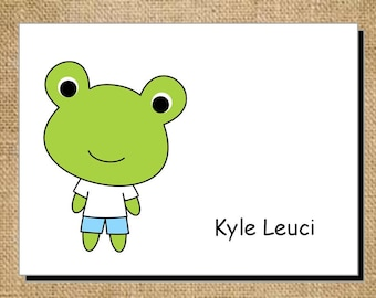 Set of Personalized Cute Frog Folded Note Cards - Thank You Cards - Blank Cards - Green and Blue Frog Toad Stationery