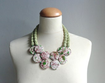 White brown Green chunky necklace modern tribal statement necklace