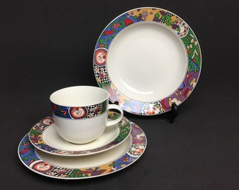 Stoneware Dinnerware Set SAKURA MAJESTICWARE Cuisine Pattern 1994 Designed Signed by Sue Zipkin