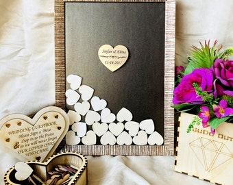 Wedding guest book, Alternative Guest book Drop Box, Unique Guest book Hearts, Wedding Book Guest, rustic guest book Wedding Wishes Drop Box