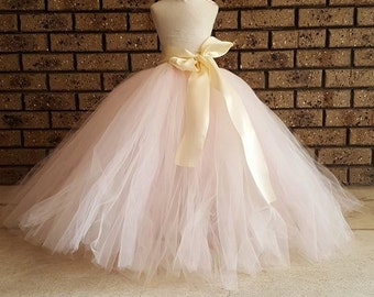 Ivory Light Pink  Full Length Tutu Skirt Flower girl Tutu with Big bow