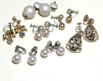 Seven pairs of vintage dangle earrings, vintage earring lot, faux pearl clip earring lot, screw back earring lot, craft lot 1950s 1960s E87