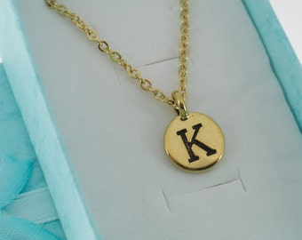 Antique Gold Plated Pewter Initial Charm Necklace.  Initial Necklace. Initial Charm. Initial Jewelry. Letter G necklace.  Letter G Jewelry.