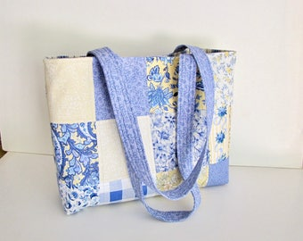 French Country tote Bag,  Blue and Yellow Tote bag, French Country Chic, Handmade, Cottage Chic, Brunschwig, Quilted  Bag, with pockets,