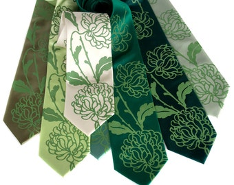 Custom wedding ties. 7 mens wedding neckties, shown in Chrysanthemum print. Microfiber. Groomsmen group discount, silkscreen design