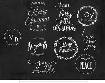 Christmas Overlays, Holiday Word Art, Overlays for Photographers, Photoshop, PNG, CO10, INSTANT DOWNLOAD