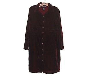 Vintage 90s dress crushed velvet maroon grunge goth button up shirt dress