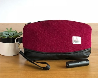 Harris Tweed clutch bag - red wristlet - pink zippered pouch - wool anniversary gift - evening bag - gift for mum