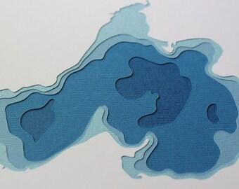 Madison Lakes  - original 8 x 10 papercut art