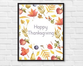 Happy Thanksgiving / Give Thanks / Art Print Card Postcard Poster / Autumn Fall Illustration / DIY / Instant Download Print / Wall Art /[12]