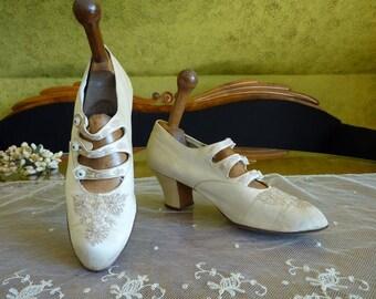 1907 Wedding Shoes, Edwardian Shoes, Antique shoes, antique bridal shoes, antike Schuhe, antike Brautschuhe, antique pumps