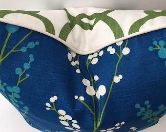 Reversible Fabric Duo Decorator Hand Sewn Throw Pillow Cover 20 Inch Square Blue Green White