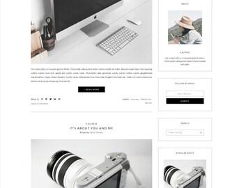Responsive Premade Blogger Template - Minimalist Design - Simple white Blog - Photography - Theme Blogspot