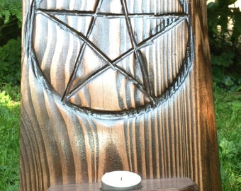 Pentacle Altar Stand With Candle Holder - Freestanding