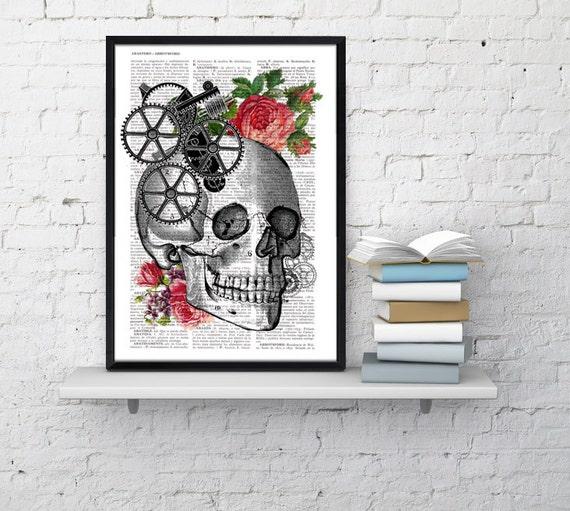 Skull Book Print - Upcycled Dictionary book page Human skull with roses- Vintage art print SKA004