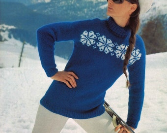 Quatra Snowflake • 1960s Pullover Sweater Pattern • Vintage Fair Isle Intarsia Pullover Ski Skiing Knitting Patterns • Retro Knit PDF
