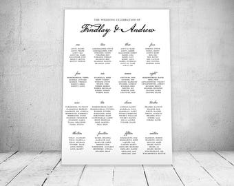 Traditional Script Wedding Seating Chart  - Digital File  - Any Size Needed - Alphabetical or By Table Number