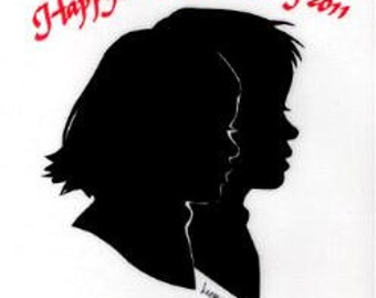 Mother's Day/Double Silhouette Portrait/Traditional