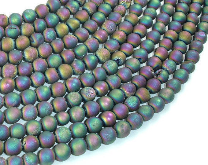 Druzy Agate Beads-Matte, Peacock Geode Beads, 6mm (6.4mm) Round Beads, 15 Inch, Full strand, Approx 63 beads, Hole 1mm (122054221)