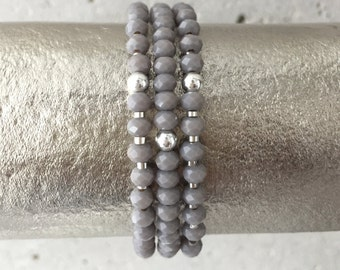 TRIO Bracelet Stack (Light Grey)