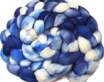 Stone washed denim - hand-dyed Polwarth wool and silk (4 oz.) combed top roving