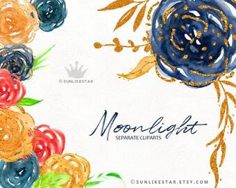 Aquarelle fleurs Clipart, Clipart or bleu marine, paillettes fleur Clipart, invitation clipart, clipart glitter, floral de mariage clipart png