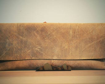 Distressed Leather Clutch A