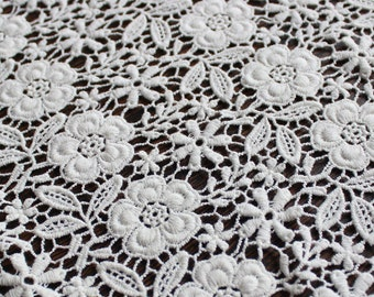 White Lace fabric-Floral Chemical Lace - Premium Heavy Lace - White Floral Lace Fabric-Black Embroidered Lace Fabric-L85