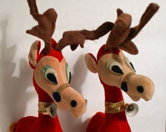 Pair of Red Reindeer Vintage Flocked Set of 2 Christmas Reindeer Decorations 7 inches tall Made in Japan